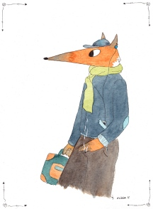 Fox - aquarelle et encre