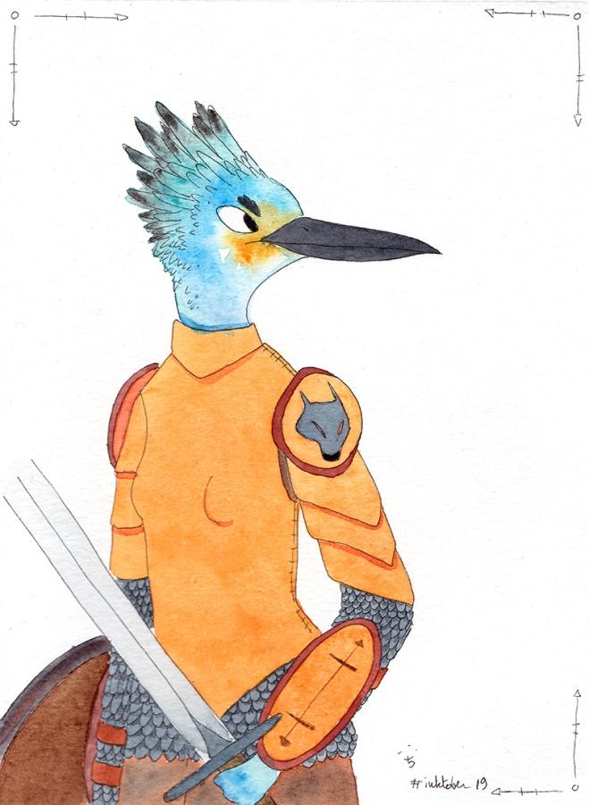 Kingfisher Knight - aquarelle et encre