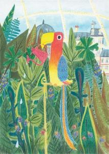 Parrot - aquarelle et crayons de couleur
