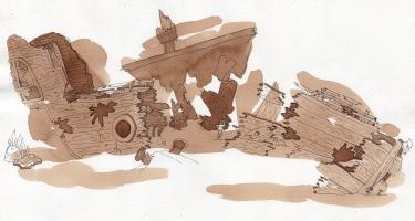 Epave de bateau pirate - tâche sépia et encre